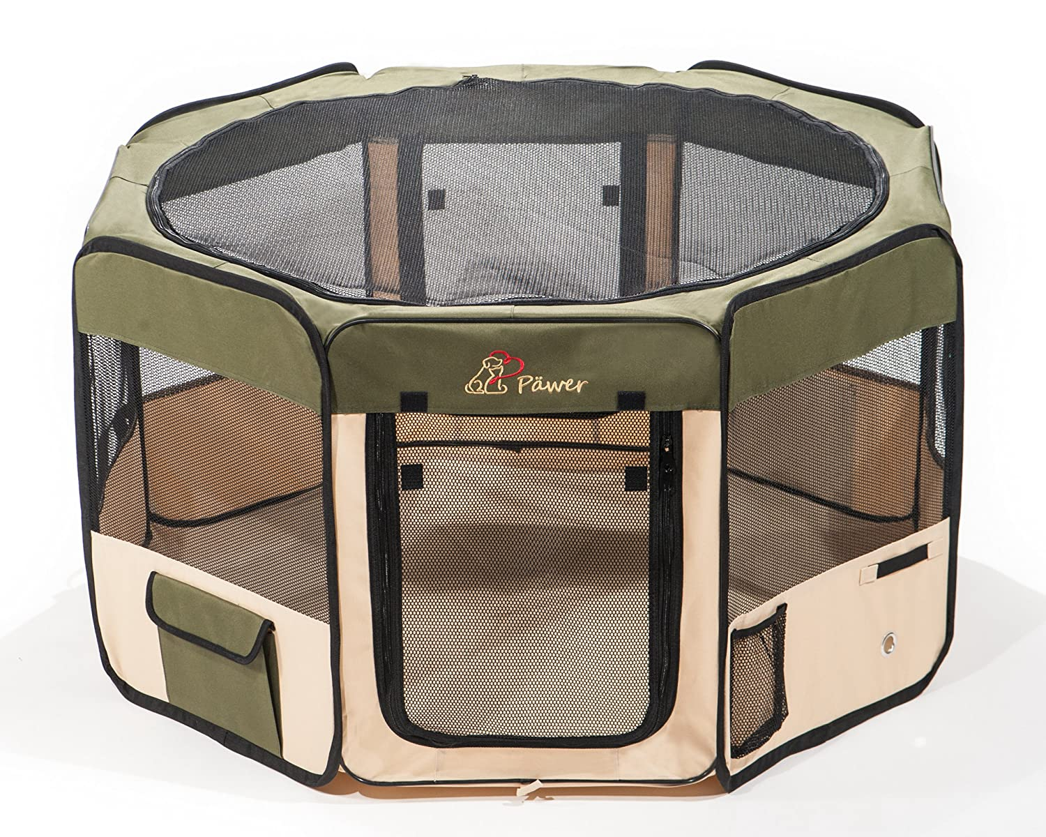 Olive 45\ Olive 45\ Pawer 45 ×24  8-Panel Foldable Pet Playpen, for Small Medium Large Cat Dog Puppy, Big Size, Olive+Beige, 600D Oxford Cloth Portable Indoor & Outdoor Kennel with Carry Bag