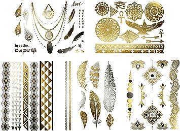 Amazon Com Metallic Tribal Jewelry Temporary Tattoos Over 50
