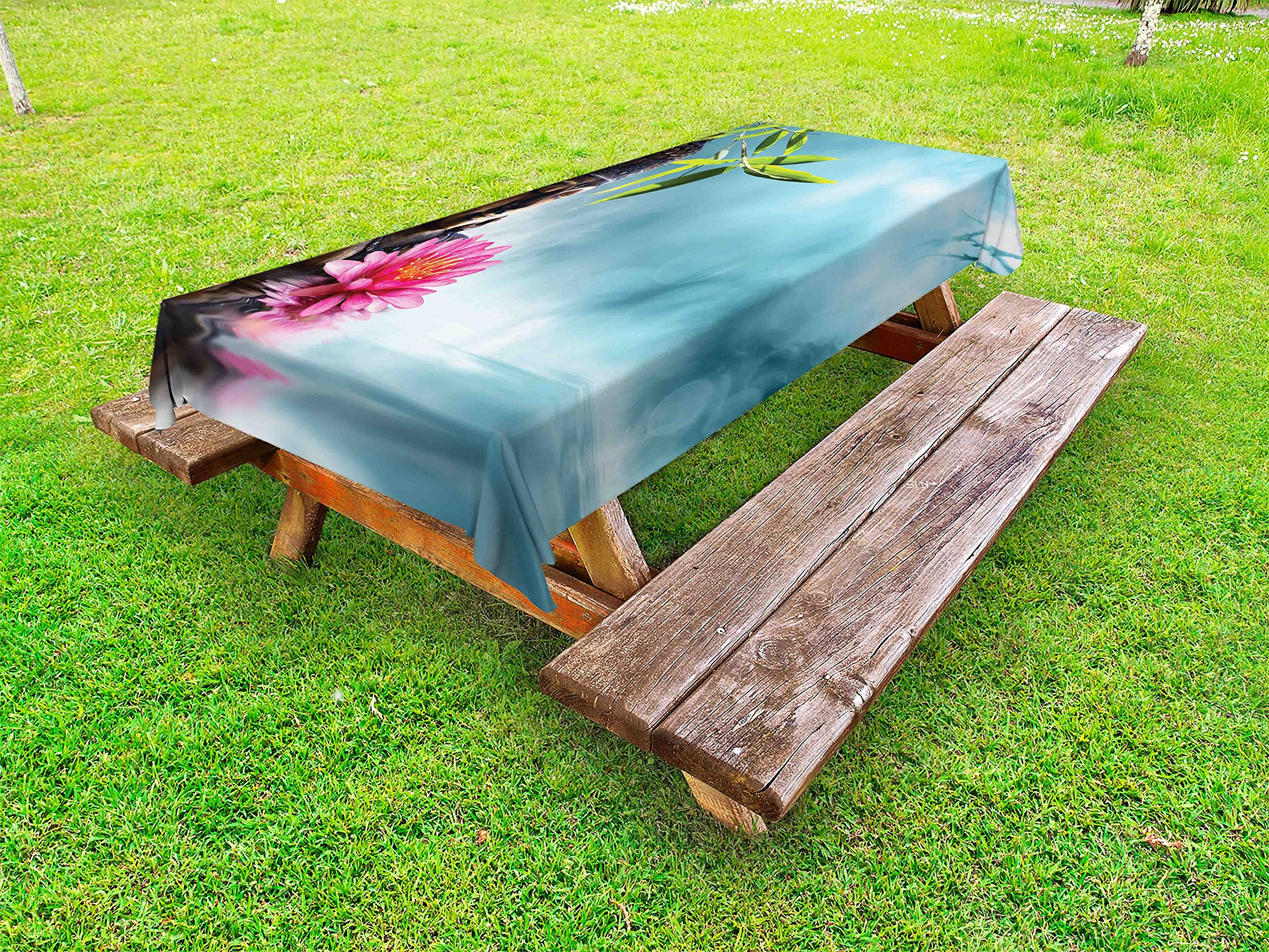 Lunarable Zen Outdoor Tablecloth, Zen Waterlillies Spa Theme Meditation Nature Feng Shui Natural Calm Water, Decorative Washable Picnic Table Cloth, 58 X 104 inches, Pale Blue Green Pink