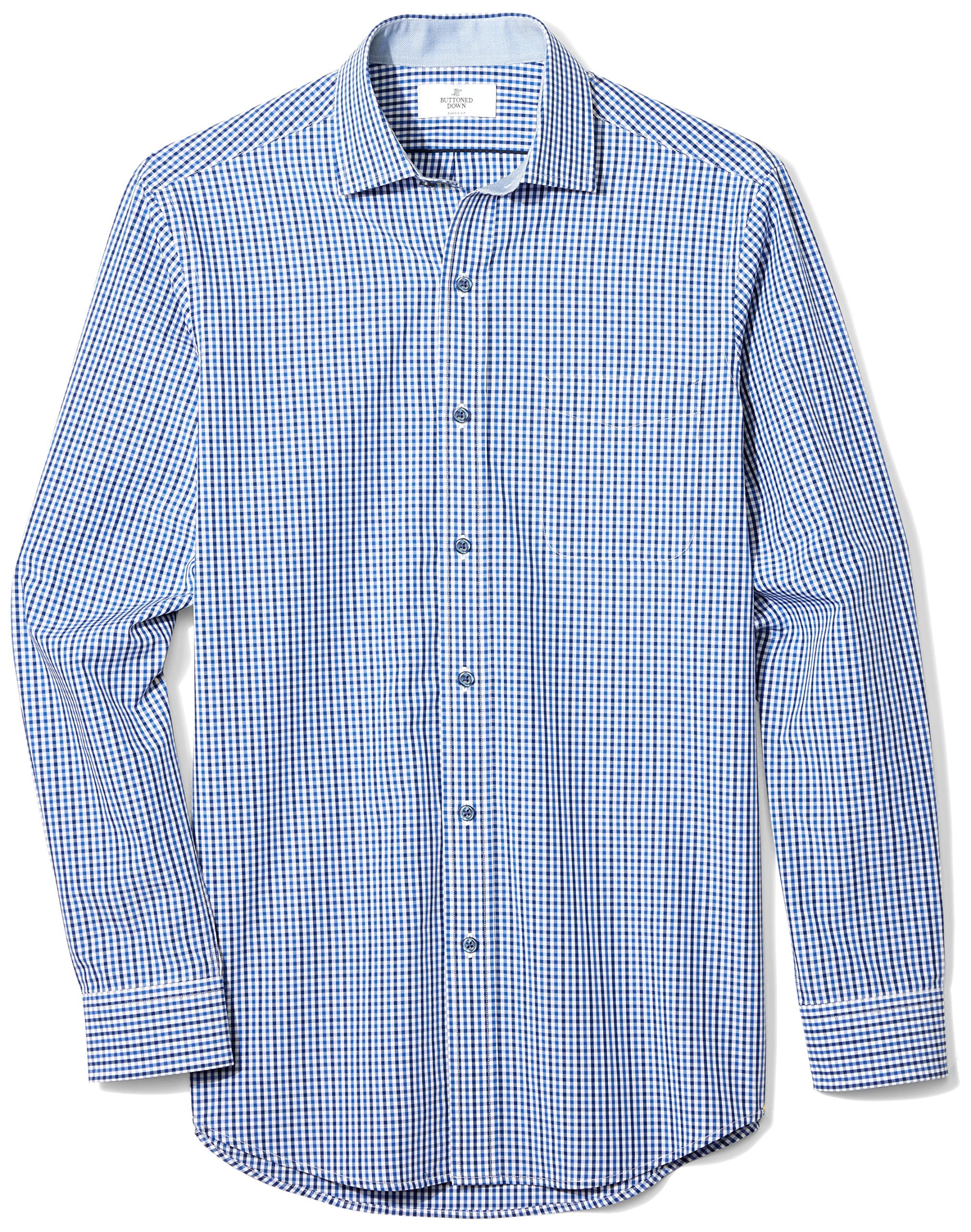 BUTTONED DOWN Men's Classic Fit Supima Cotton Spread-Collar Dress Casual Shirt, Navy/Blue Tatersol, XXX-Large 38/39 (Big and Tall)