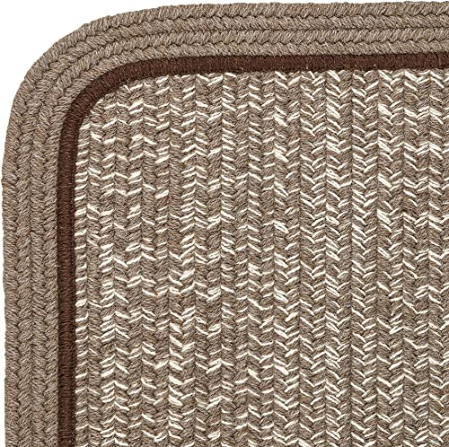 Super Area Rugs Wool Braided Casual Rug American Made Soft Textured Carpet, Brown, 10 Square