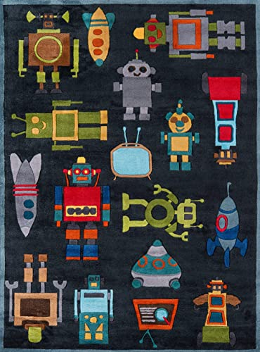 Momeni Rugs Lil Mo Whimsy Collection, Kids Themed Hand Carved Tufted Area Rug, 3 x 5 , Robots Steel Blue