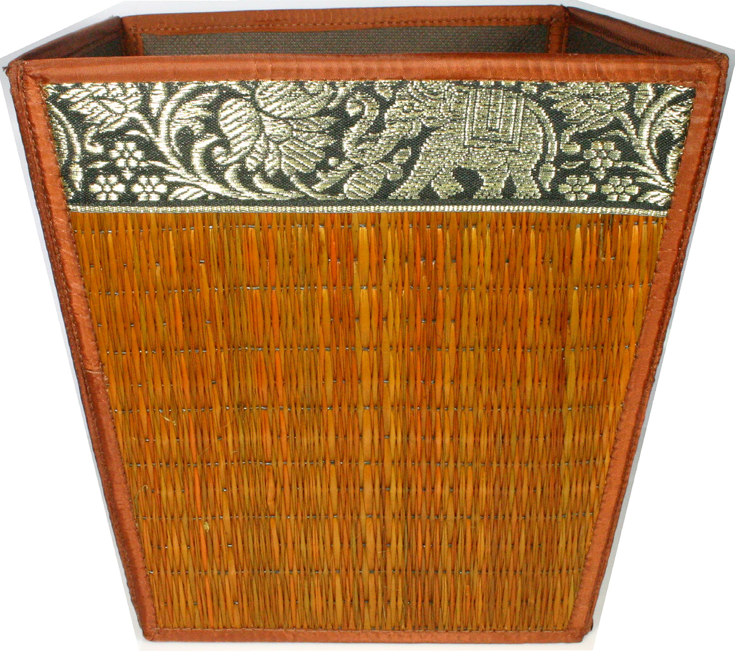 TOPMOST Handmade Thai Woven Straw Reed Wicker Square Waste Basket with Silk Elephant Design (Brown) by Topmost