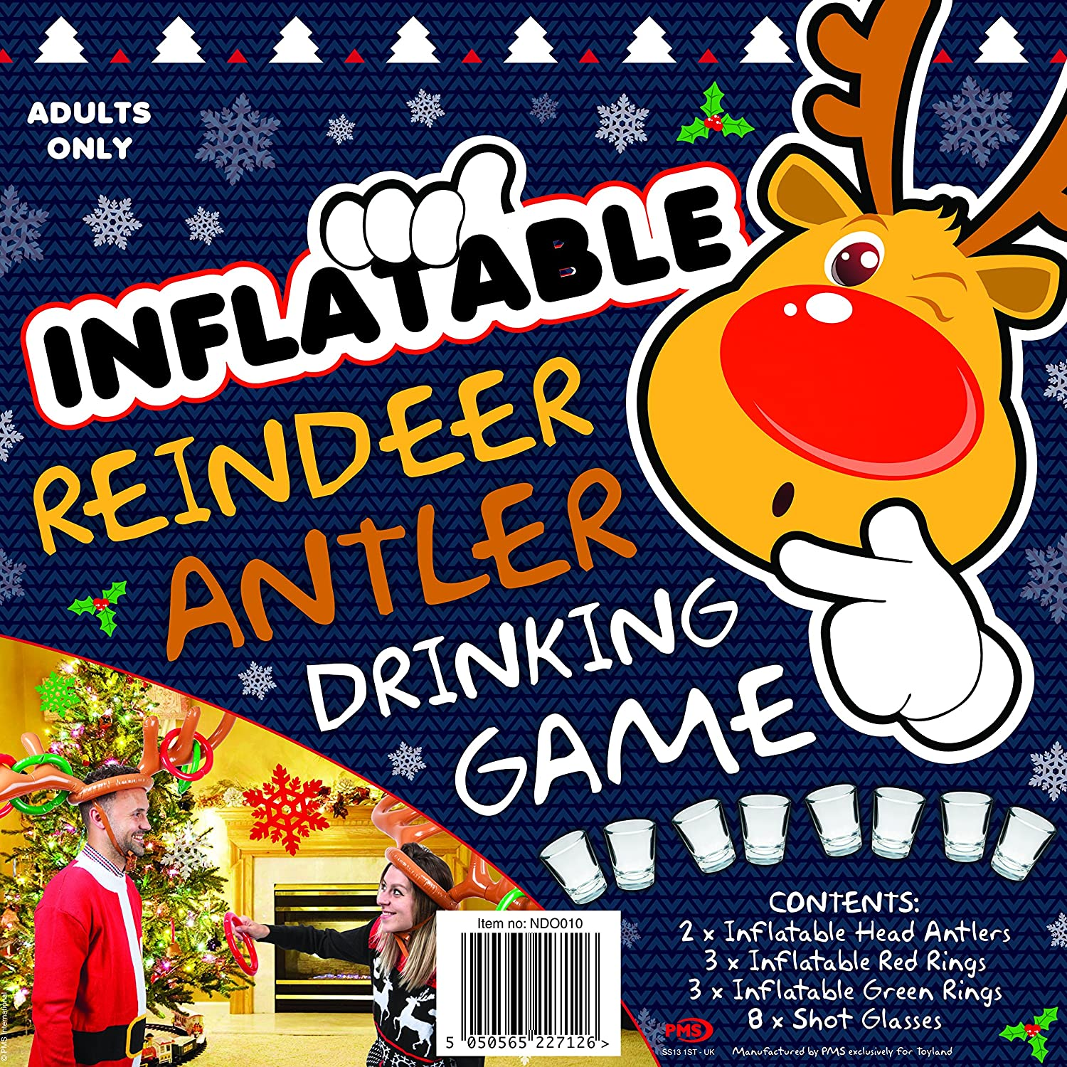 Amazon Com Inflatable Reindeer Antlers Drinking Game Christmas Party Games Stocking Fillers Toys Games