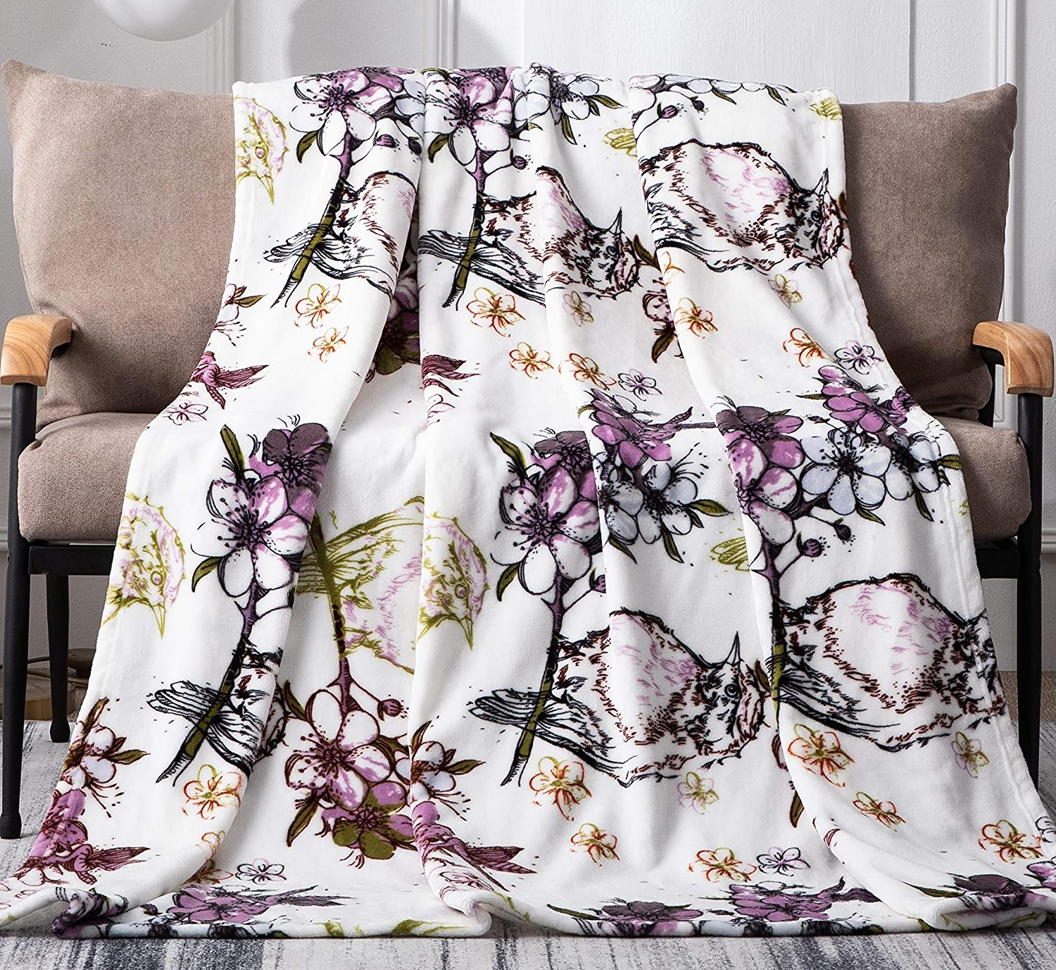 "DaDa Bedding Soft Fleece Throw Blanket - Plush Warm Animal Lover House Warming Decor Gift Idea While TV Blossom Wonderland Floral Spring Time Birds - Elegant Orchid Purple & Olive Green - 50"" x 60"""