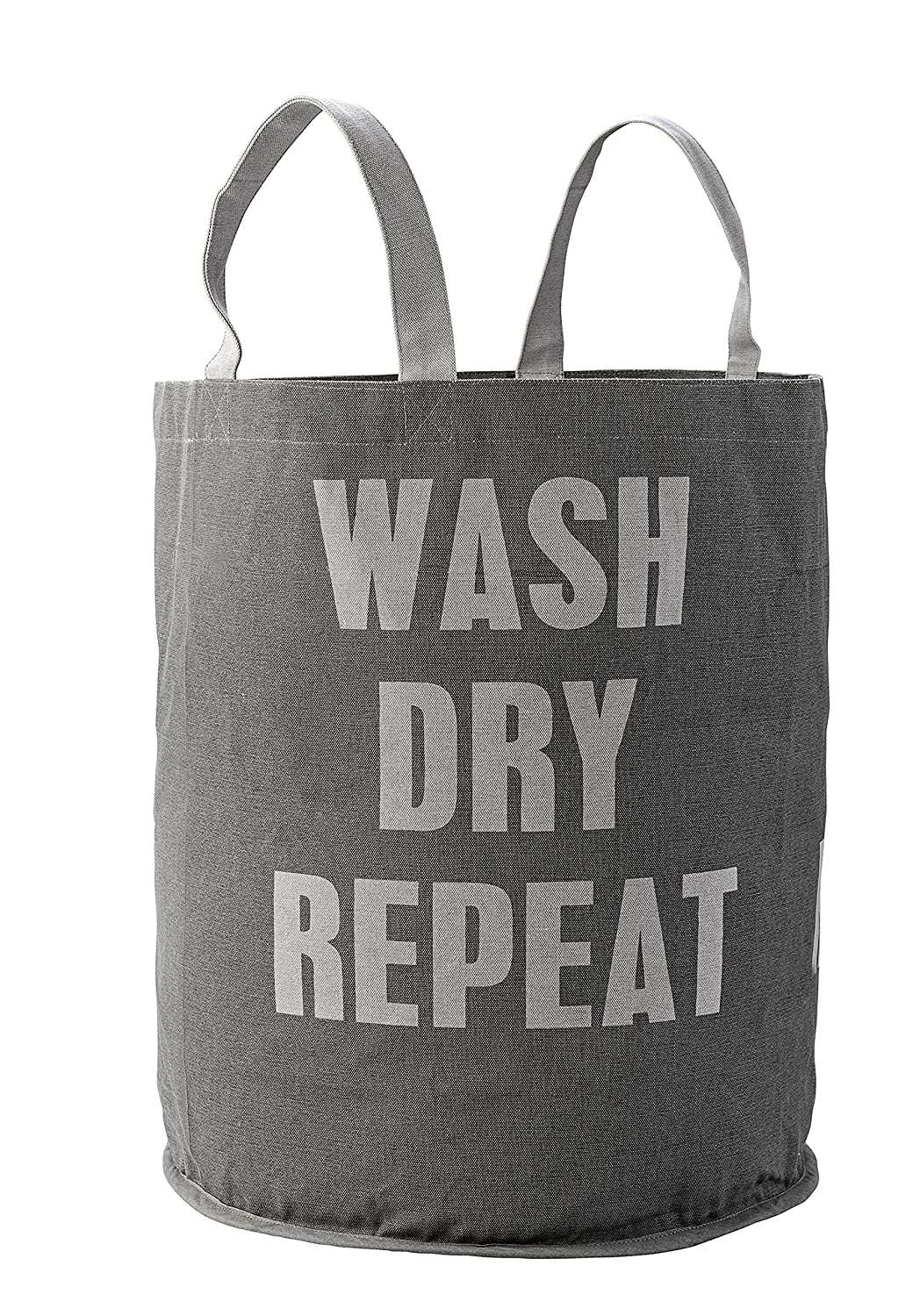 Bloomingville Wash Dry Repeat Grey Canvas Laundry Bag