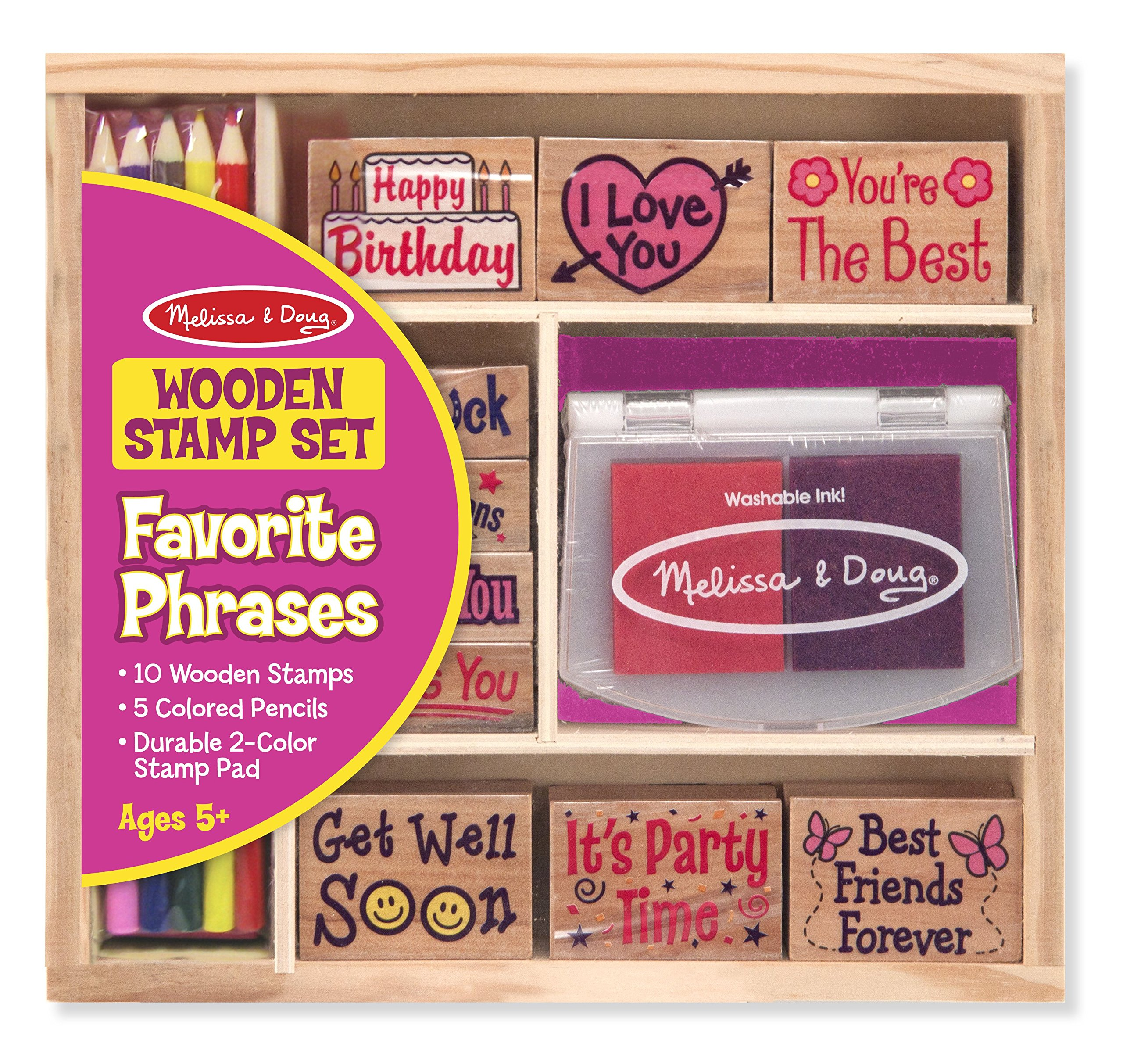 Melissa & Doug Favorite Phrases Wooden Stamp Set - 10 Stamps, 5 Colored Pencils, 2-Color Stamp Pad