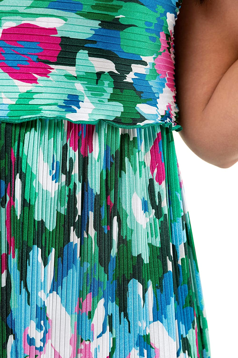 Ulla Popken Womens Plus Size Tropical Colors Pleated Knit Maxi Tank Dress 721914