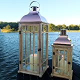 The Tribeca Candle Lantern Hurricanes, Copper Colored Metal, Sustainable Pine Wood, Glass, 27 1/8 and 16 7/8 Inches Tall (69 and 43 cm) By Whole House Worlds