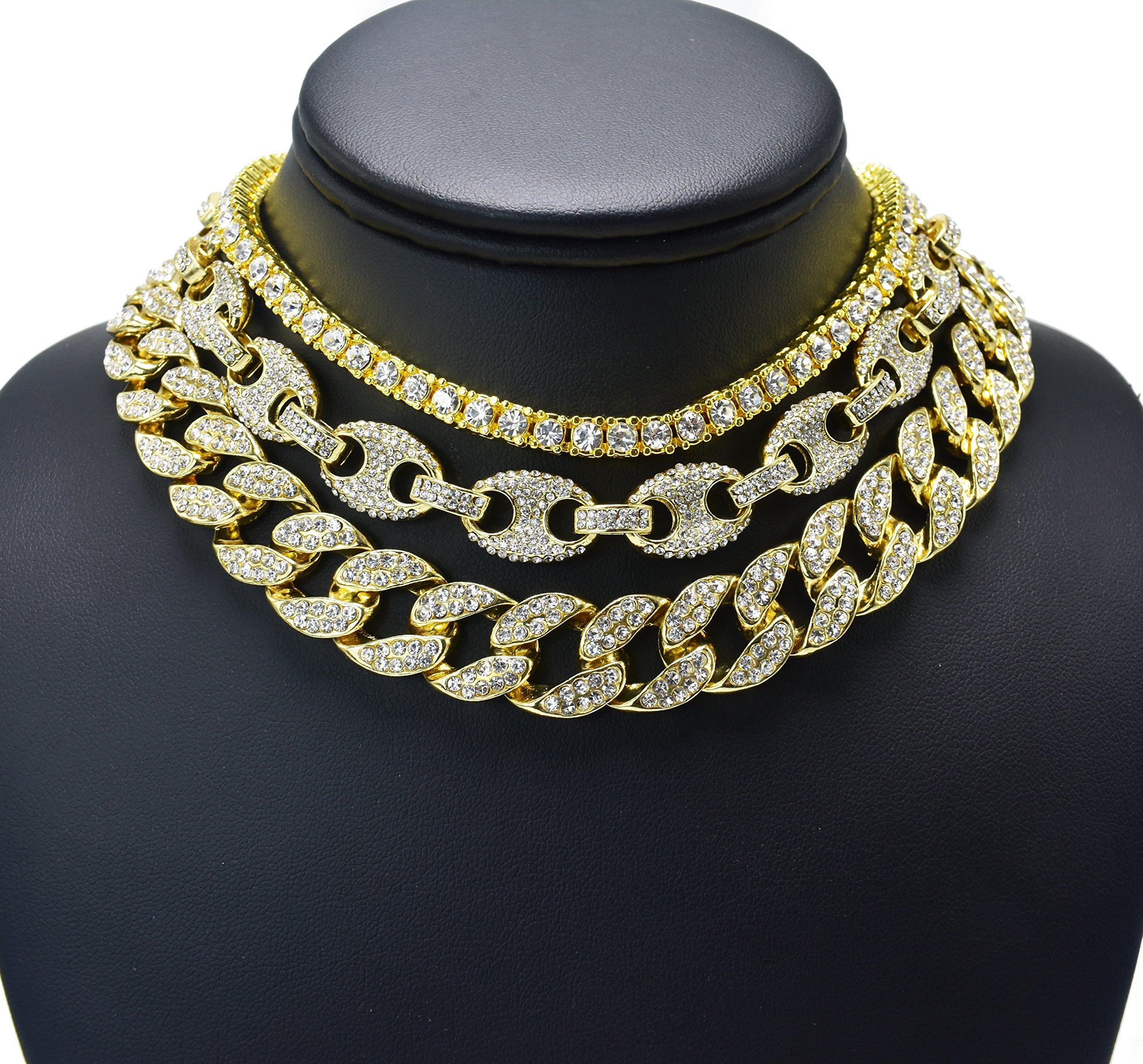 Prisa Times Hip Hop Quavo Choker 20'' Cuban & 18'' Full Iced Cuban & 1 ROW Tennis Necklace SET (Set)