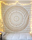 """Esclusivo copriletto """"Golden ombre Tapestry by Raajsee"""" biancheria da letto, motivo: Mandala, regina, multi colori indiana, Wall Art hippie, Wall Hanging Bohemian."""