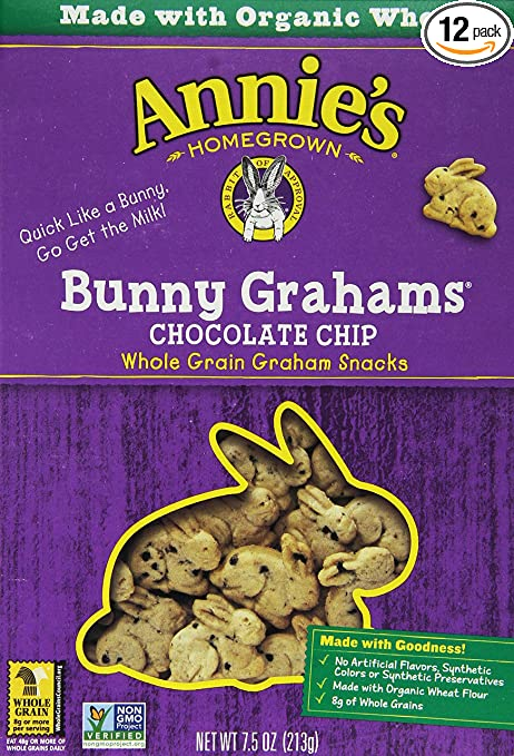 Annie's Homegrown Bunny Grahams Chocolate Chip, 7.5-Ounce Boxes (Pack of 12)
