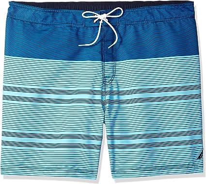 Nautica Mens Big and Tall Quick Dry Half Elastic Waist Colorblock Swim Trunk
