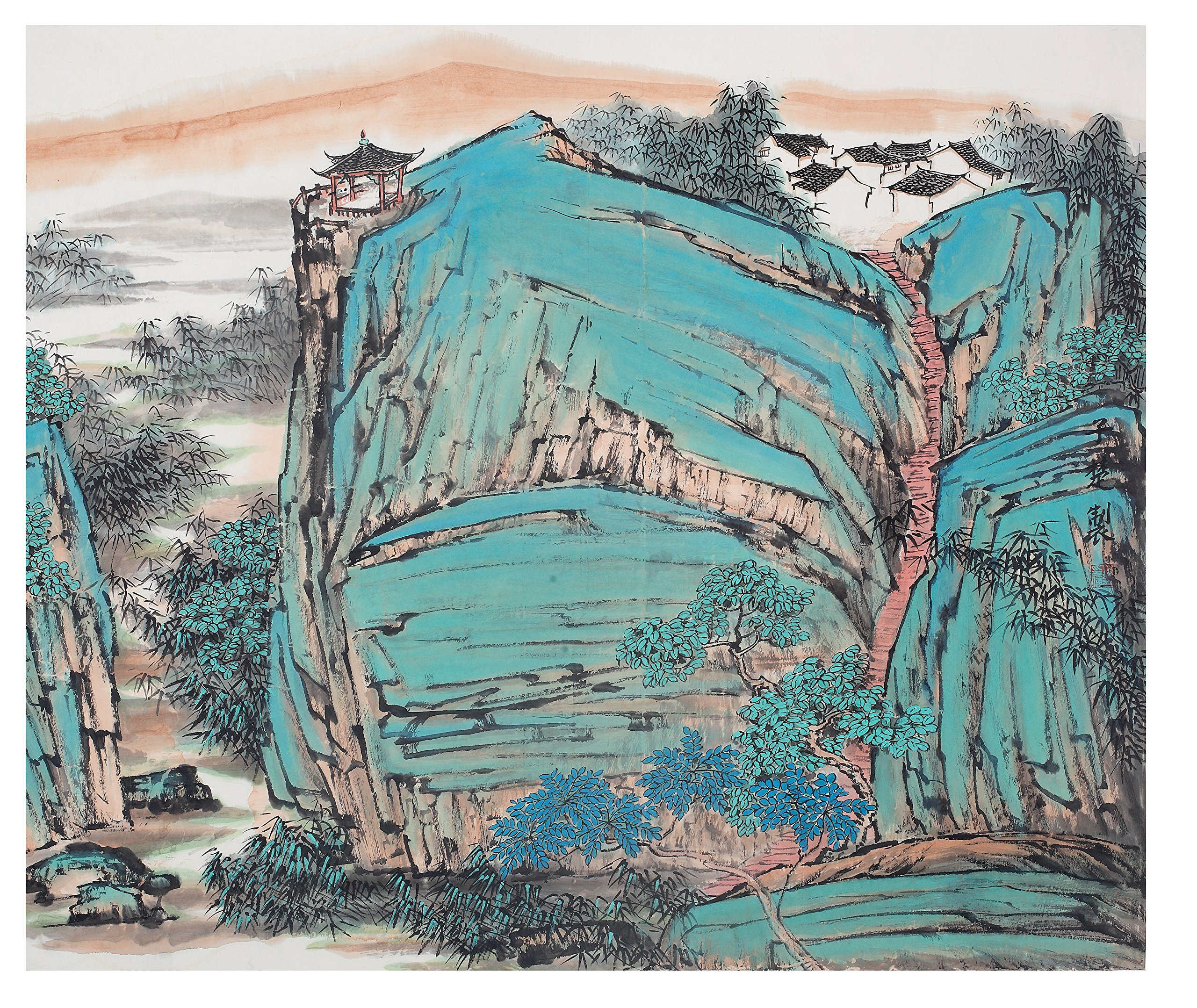 Asian Decor Collection, Original Hand Painted Chinese Landscape-The blue and green landscape painting 59 x 38 inch, For Bedroom Living Room Dorm Wall Decor