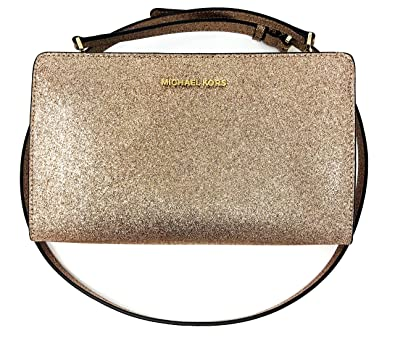 dbcba042608f Amazon.com: MICHAEL Michael Kors Large Crossbody Clutch Rose Gold Glitter:  Shoes
