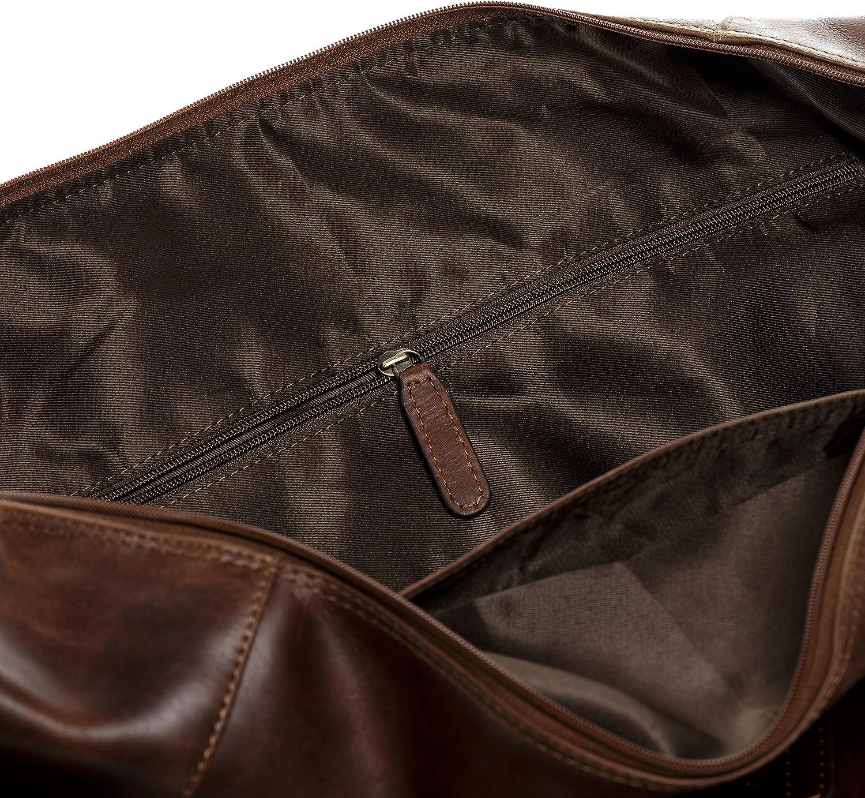 SID /& VAIN Sac de Voyage Cuir v/éritable Bristol fourre-Tout Besace Week-End 50 cm XL Grand Sac Sport Bagages Cabine /à Main Marron