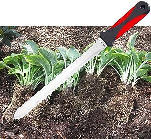 "Spartan Garden Knife Perennial Splitter Divider Super Sharp Double Sided Serrated Stainless Steel 8"" Blade, 5"" Ergonomic Rubber Handle, Hori Hori Knife! Garden Tools & Gardening Tools,"