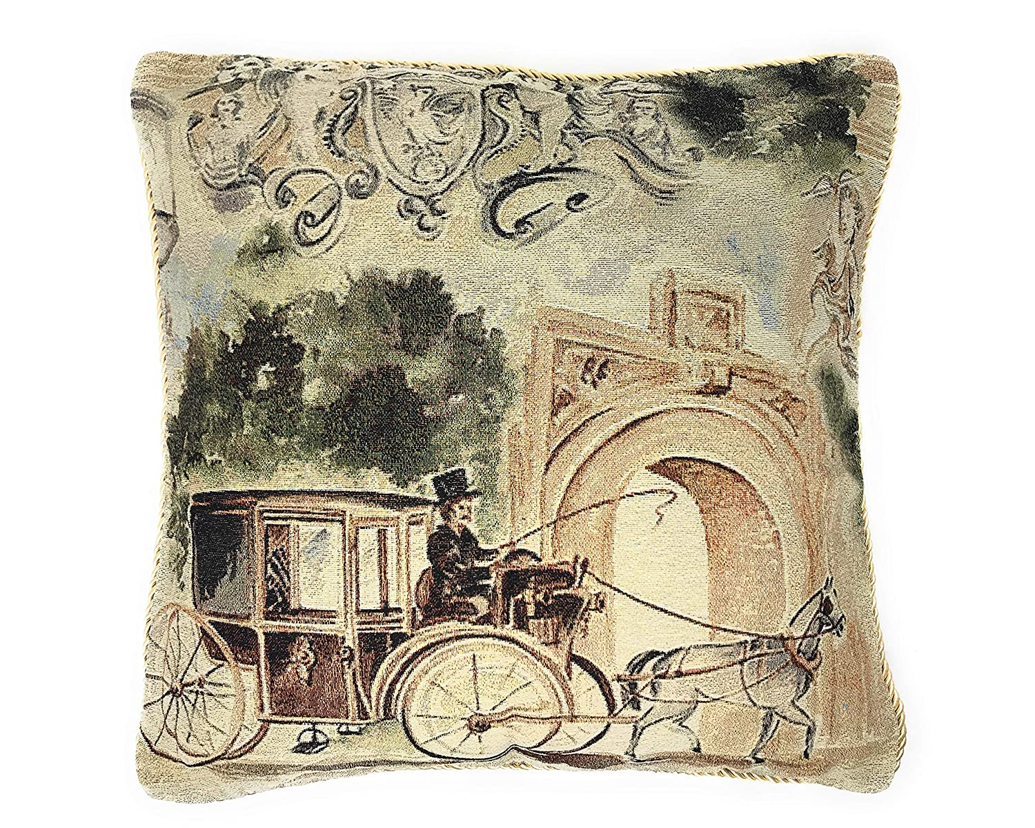Tache Home Fashion Vintage Old Days Square Woven Tapestry Faux Needlepoint Cushion Throw Pillow Cover 18x18cm Beige