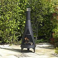 Kingfisher Tower Gartenkamin Schwarz Maxi Garden Oven ✔ rund ✔ Grillen mit Holzkohle