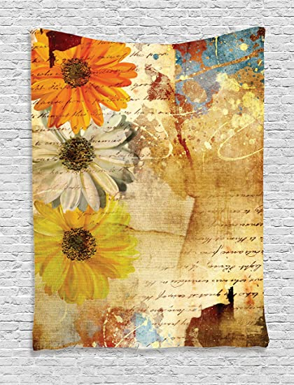 Amazon ambesonne grunge home decor tapestry wall hanging ambesonne grunge home decor tapestry wall hanging flowers and lettering poetry orange yellow daisy grunge mightylinksfo