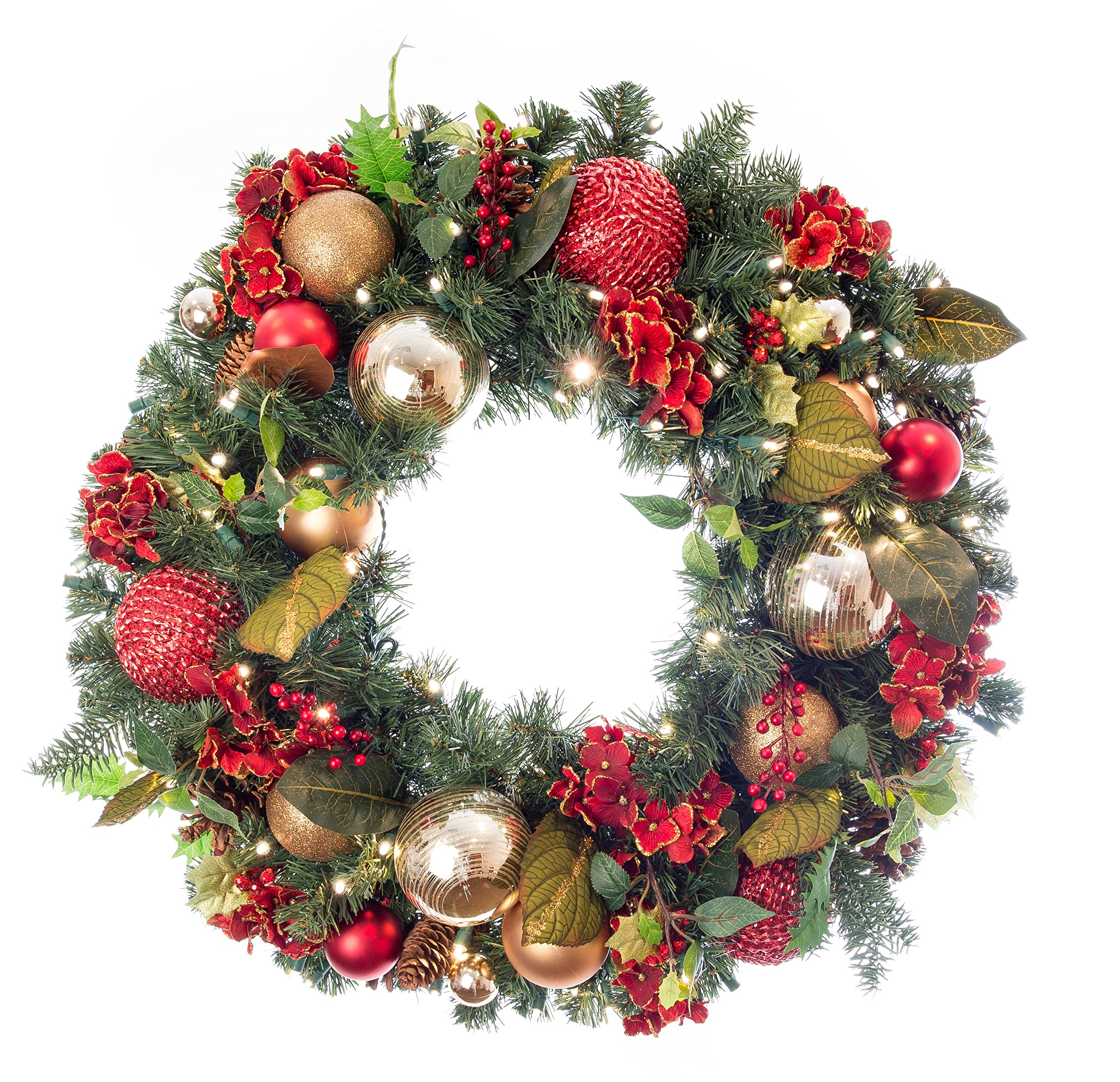 Pre-Lit Decorated Wreath Scarlet Hydrangea 30'' by VILLAGE LIGHTING COMPANY
