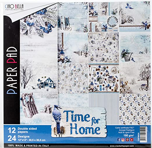 Ciao Bella Paper - Papeles Scrapbooking Time For Home (30 x 30 cm): Amazon.es: Hogar