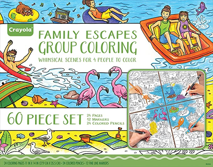 Amazon.com: Crayola Family Escapes Group Coloring Kit, Family Art ...