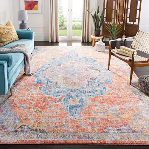 Safavieh Bristol Collection BTL350S Blue and Orange Vintage Distressed Medallion Area Rug 9' x 12'