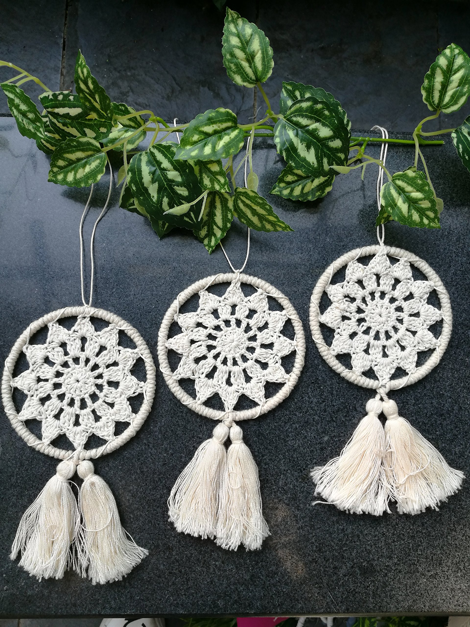 Bella's garden Mini Dream Catchers Boho Wedding Party Favor Baby Shower, Birthday Gift Bedroom Wall Ornaments Car Hanging Decoration Tassels Set of 3 (S1)