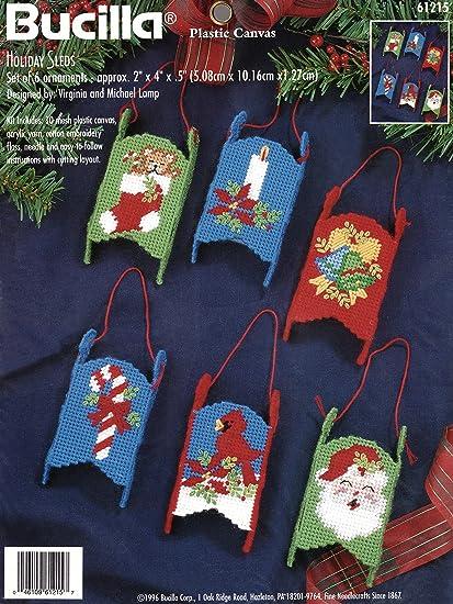 Plastic Canvas Christmas Ornaments.Amazon Com Bucilla Holiday Sleds Plastic Canvas Ornament