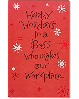 American Greetings Happy Holidays Card For Boss With Glitter
