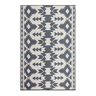 Fab Habitat Reversible Rugs | Indoor or Outdoor Use | Stain Resistant, Easy to Clean Weather Resistant Floor Mats | Miramar - Gray, 4' x 6'