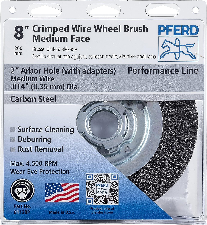 PFERD 81128P Economy Medium Face Bench Crimped Wheel Brush, Carbon ...