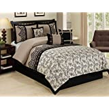 7 Piece LUPE crowded flower print Comforter Set- Queen King Cal.King Size (Cal.king)