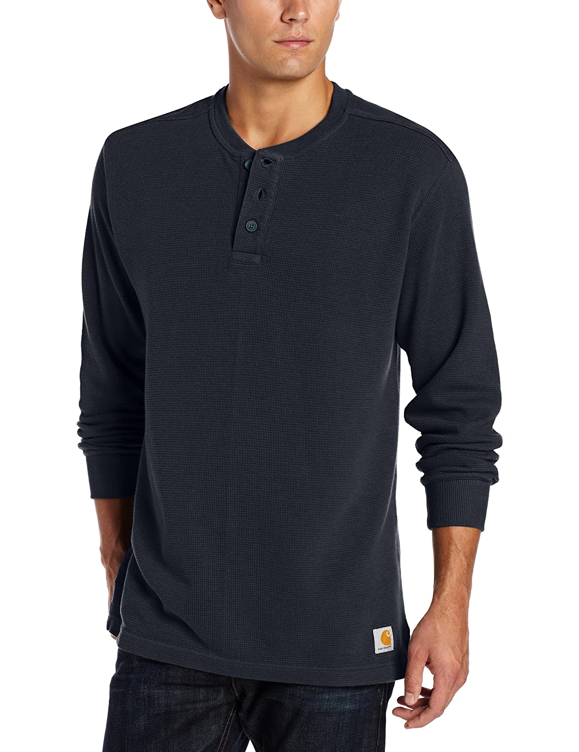 Carhartt Men's Textured Knit Henley Relaxed Fit Navy X-Large Carhartt Sportswear - Mens 100568-412