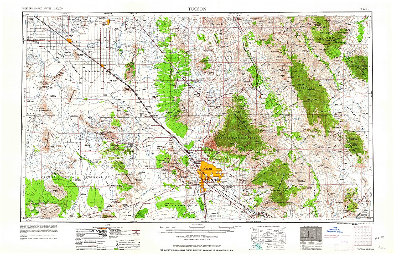 Amazon.com : YellowMaps Tucson AZ topo map, 1:250000 Scale ...