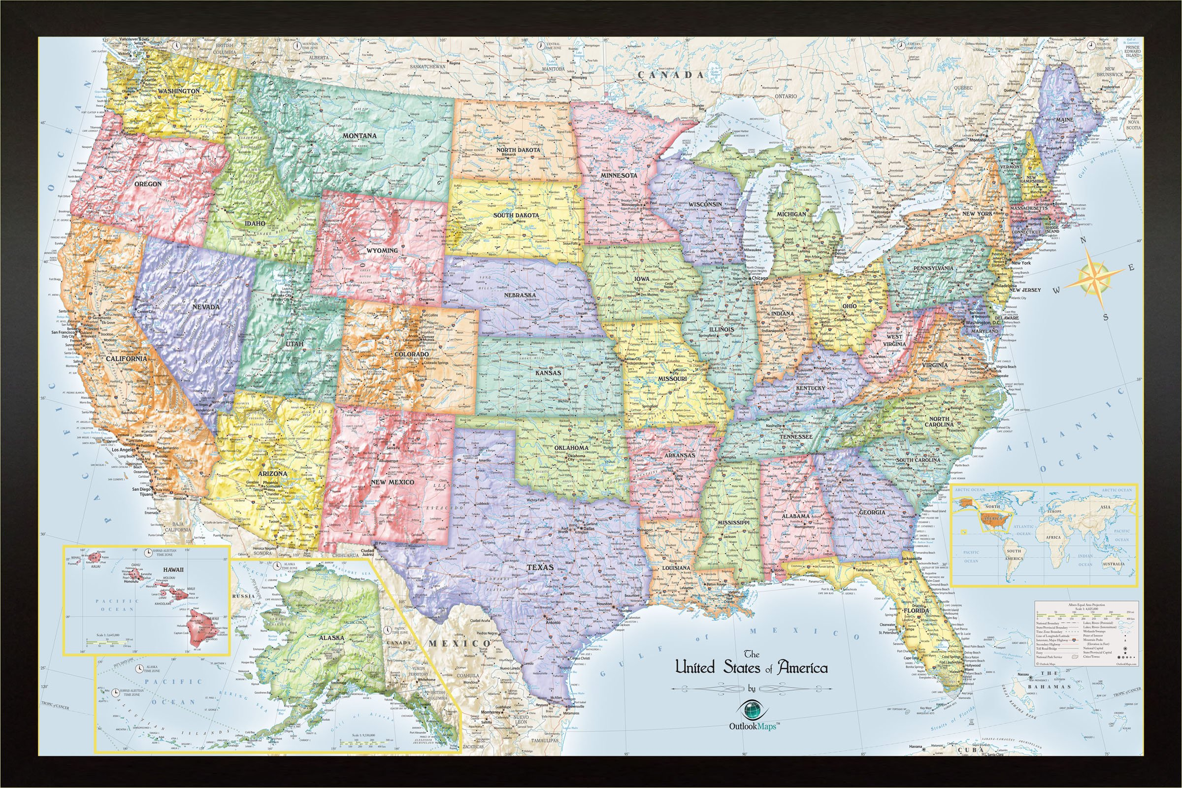 Homemagnetics 33 x 22 Blue USA Magnetic Map by Homemagnetics