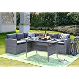 Amazon Com Dark Brown Modern All Weather Wicker Aluminum