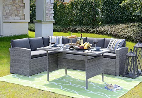 Homewell Outdoor Wicker Dining Set with L Shaped Sofa - Amazon.com: Homewell Outdoor Wicker Dining Set With L Shaped Sofa