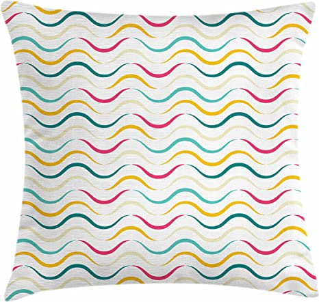 Amazon Com Lunarable Abstract Throw Pillow Cushion Cover Waves Vibrant Colors Curve Lines Minimalist Continuous Ornament Decorative Square Accent Pillow Case 26 X 26 Magenta Teal Mustard Home Kitchen