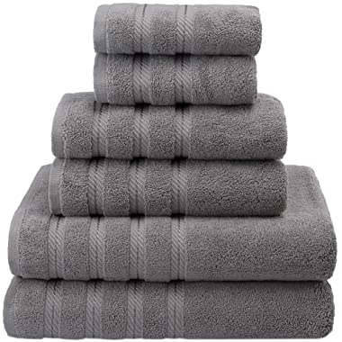 Premium, Luxury Hotel & Spa Quality, 6 Piece Kitchen and Bathroom Turkish Towel Set, 100% Genuine Cotton for Maximum Softness and Absorbency by American Soft Linen, [Worth $78.95] (RockRidge Grey)