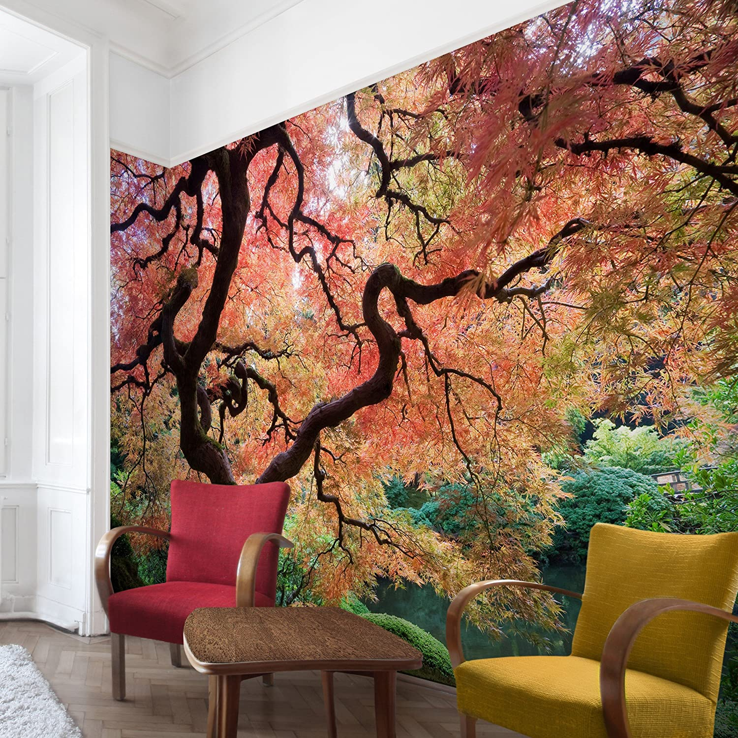 Non Woven Wallpaper   Japanese Garden   Mural Wide Wallpaper Wall Mural  Photo Feature Wall Art Wallpaper Murals Bedroom Living Room     Amazon.com