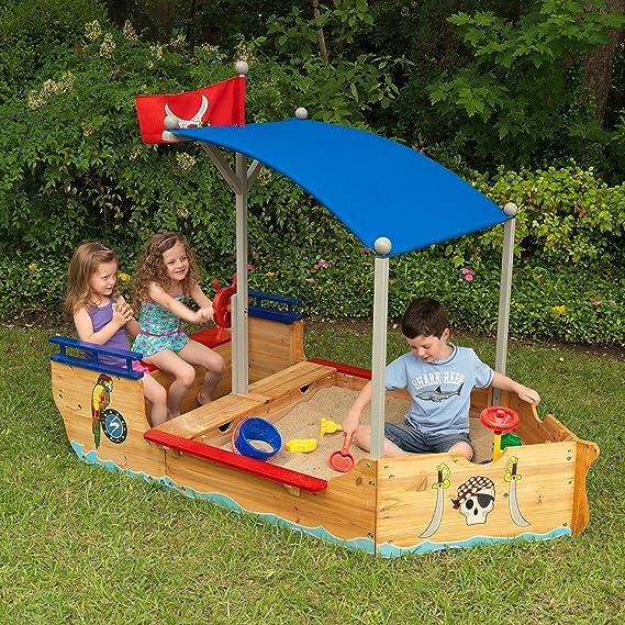 KidKraft 128 Arenero de madera para niños Galeón Pirata, para jardín y exterior al aire libre