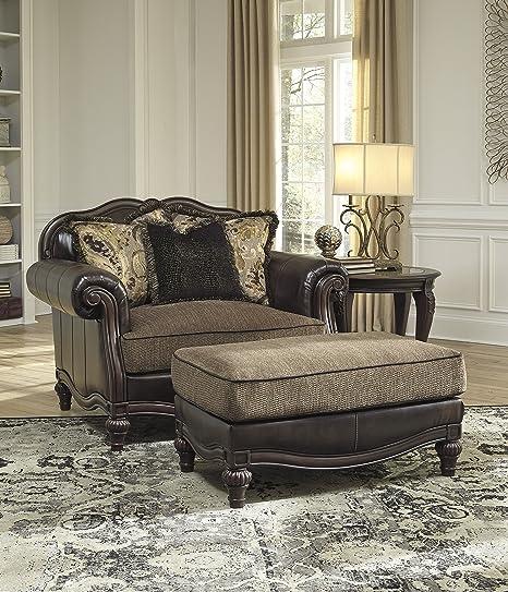 Strange Winnsboro Durablend Faux Leather Vintage Brown Wooden Frame Chair And A Half With Ottoman Set Spiritservingveterans Wood Chair Design Ideas Spiritservingveteransorg