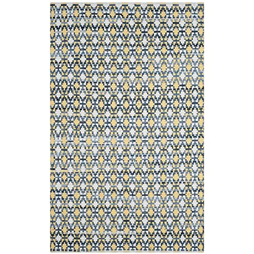 Safavieh Montauk Collection MTK123B Handmade Flatweave Gold and Multi Cotton Area Rug 5 x 8