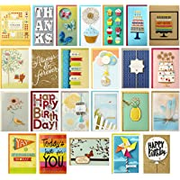 Hallmark 5EDX3456 All Occasion Handmade Boxed Set of Assorted Greeting Cards with Card Organizer (Pack of 24)—Birthday…