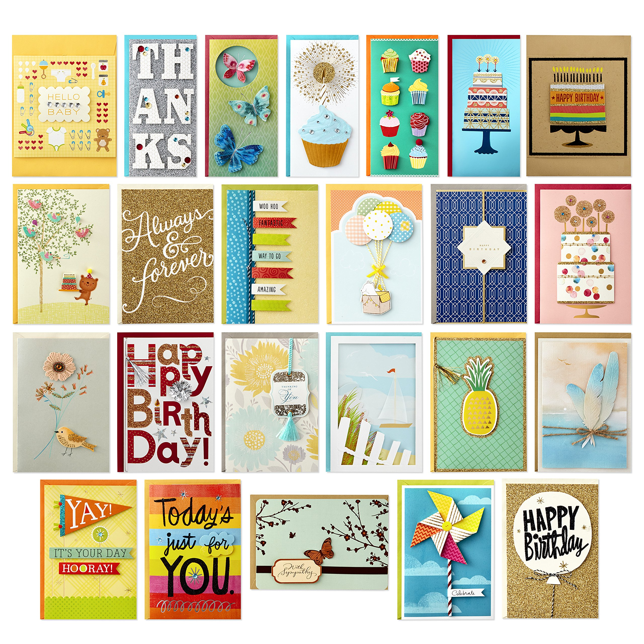 Hallmark All Occasion Handmade Boxed Set of Assorted Greeting Cards with Card Organizer (Pack of 24)-Birthday, Baby, Wedding, Sympathy, Thinking of You, Thank You, Blank by Hallmark