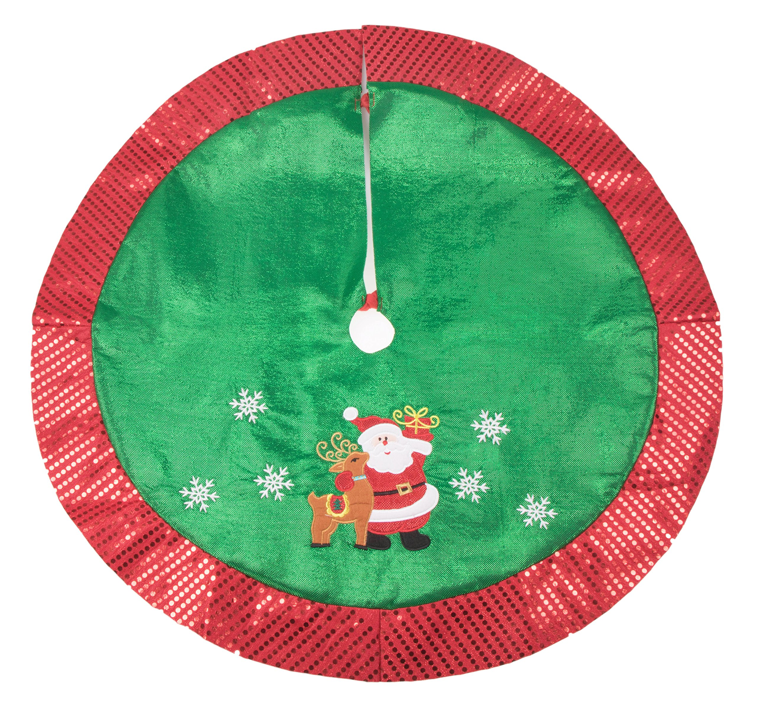 Red and Green Santa with Rudolph Christmas Tree Skirt by Clever Creations   Floor Cloth with Sequin Trim   Traditional Classic Festive Holiday Decor   Catches Falling Needles and Sap   36'' Diameter