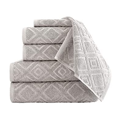 Classic Turkish Towels 6 Piece Cotton Bath Towel Set - Luxurious Soft and Thick Bath Towels 600 GSM Made with 100% Turkish Cotton - Gemstone Towel Collection (Tuffet)