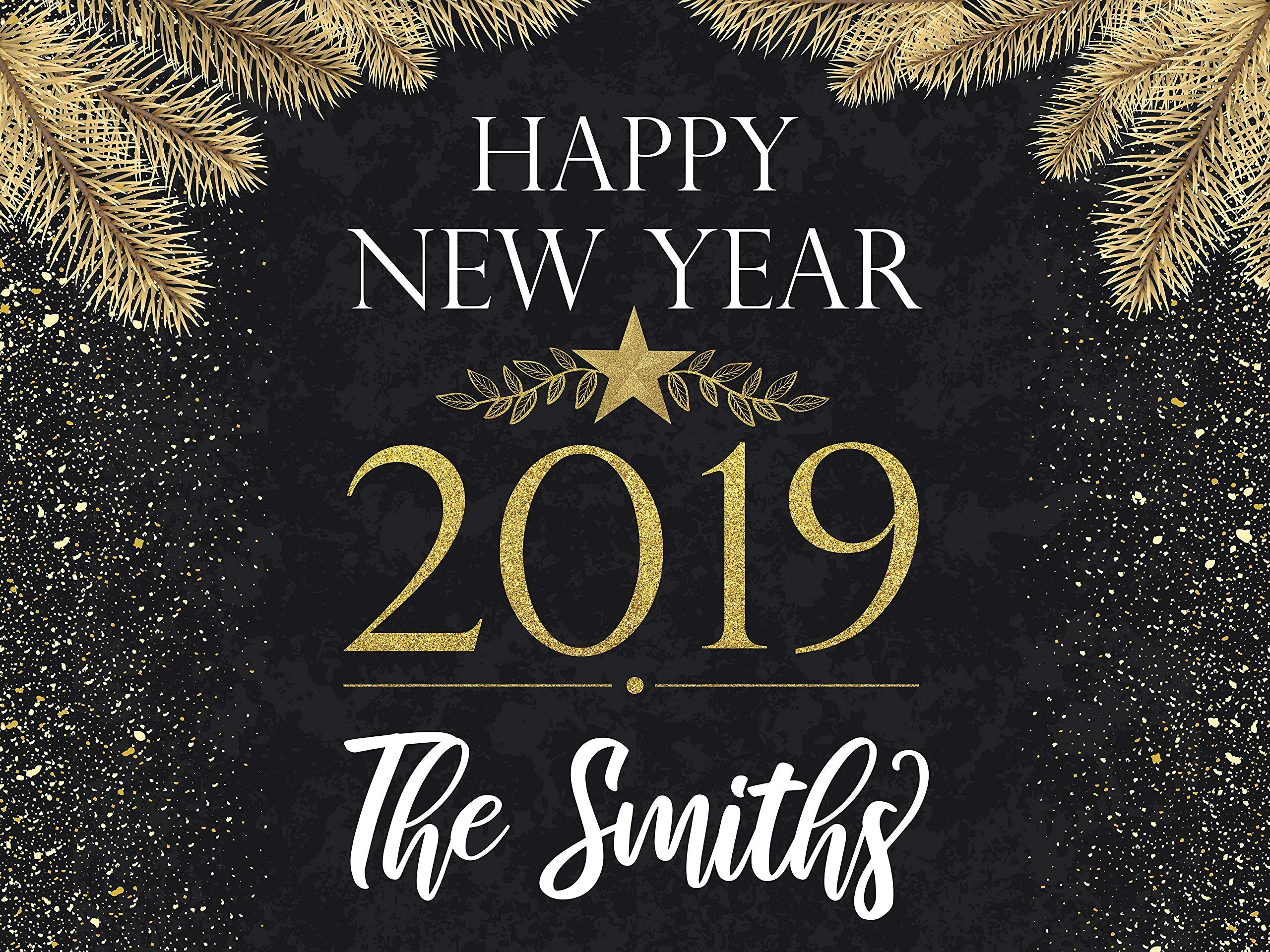 New Year 2019 Glitter Banner Black And Gold Nye Decoration